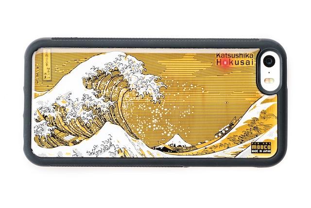 FLASH 神奈川沖浪裏 基板アート iPhone SE(第1世代)/5/5s ケース 黒【東京回路線図A5クリアファイルをプレゼント】