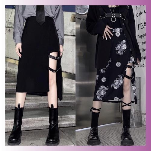 【お取り寄せ】ガーター風 ミモレ丈 スカート 2種