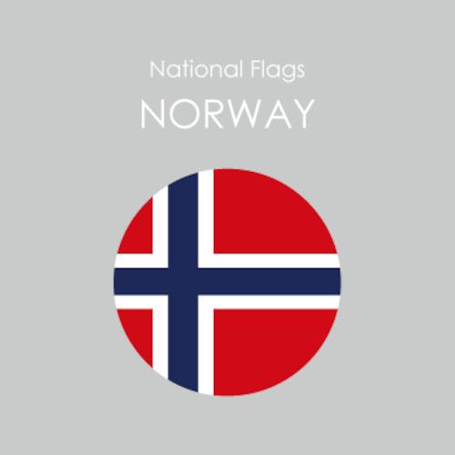 円形国旗ステッカー「ノルウェー」
