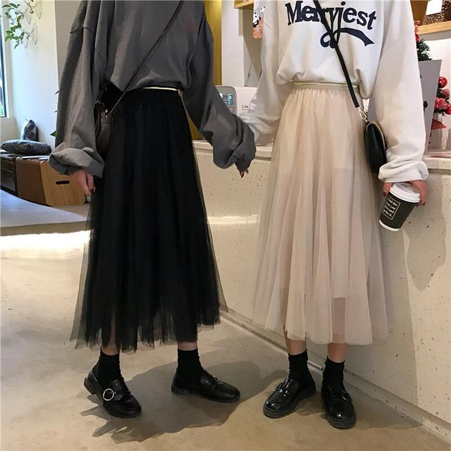女性らしさが可愛いチュールロングスカート S1683