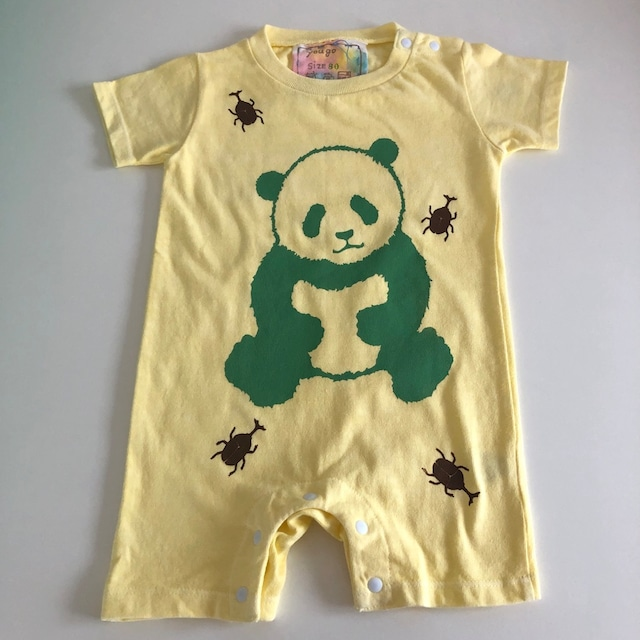 babyロンパース80cm「緑パンダとカブトムシ」R80-20927-1