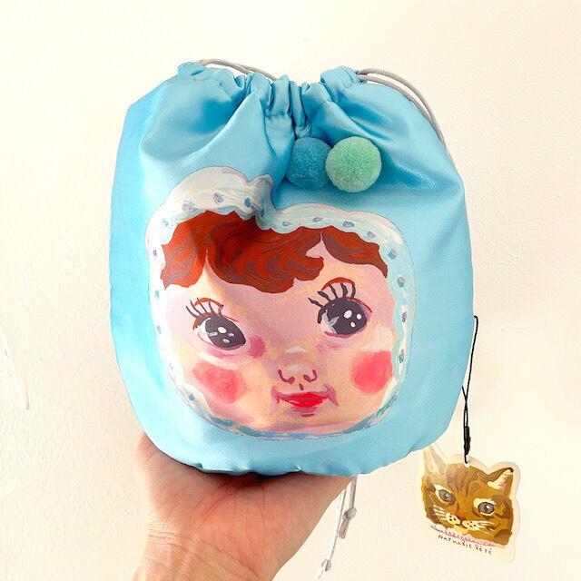 Nathalie Lete Drawstring bag CHARMY light blue