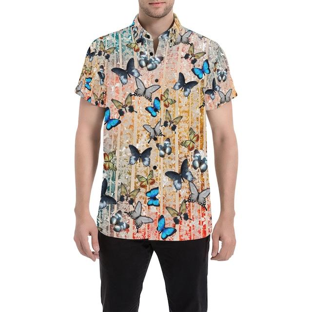 家紋ライン蝶 ユニセックス半袖シャツ