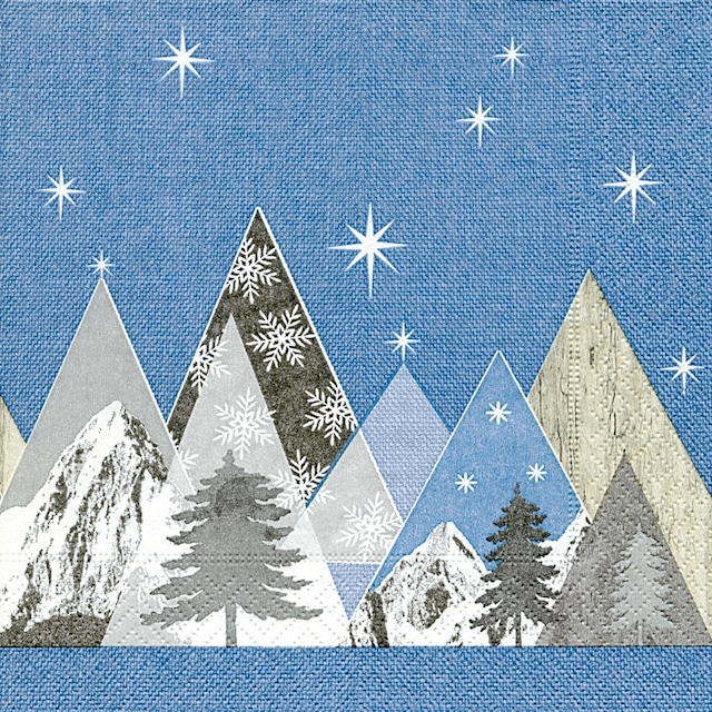 【Paper+Design】バラ売り2枚 ランチサイズ ペーパーナプキン Peak mountains ブルー