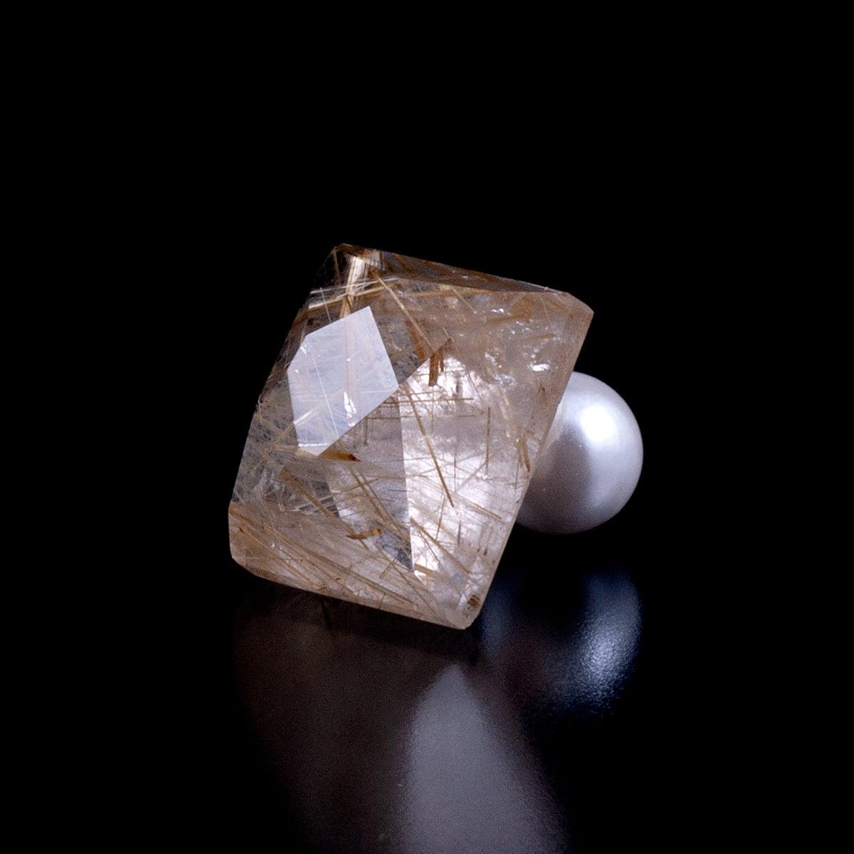 Gold rutile quartz earring / single