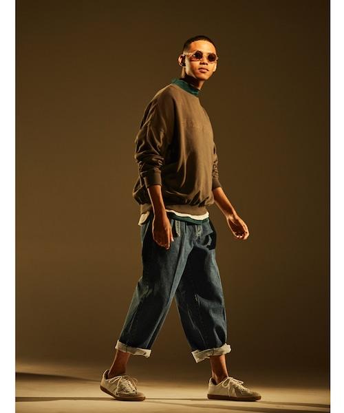 Belt Tuck Wide Pants Denim -indigo <LSD-BJ1P2>