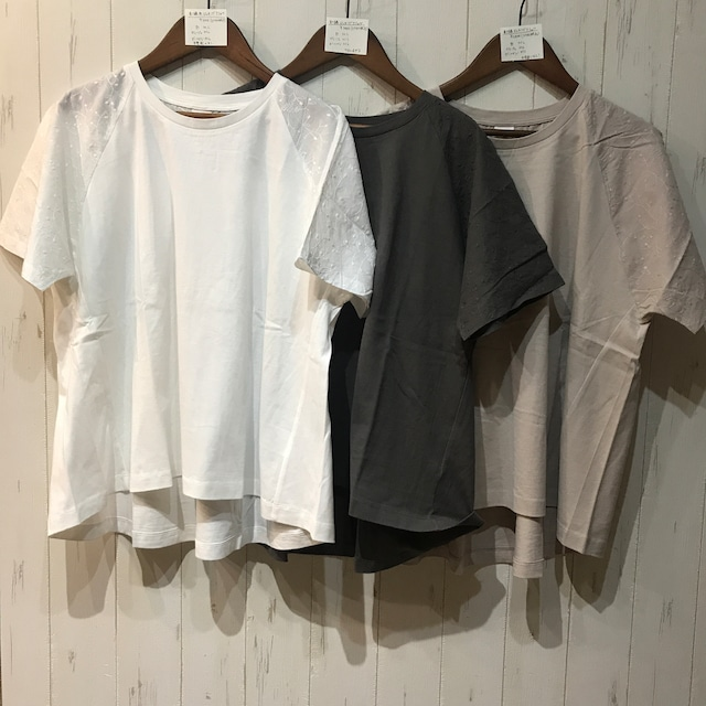 刺繍布帛ドッキングTシャツ