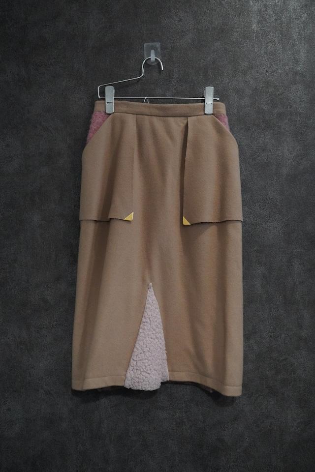【2021 緊急SALE】chiral combination wool skirt   pink×beige