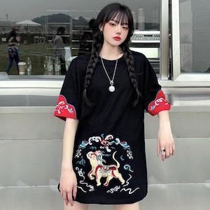【トップス】刺繍プリント半袖ストリート系カジュアルTシャツ48535968