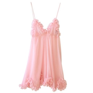 FRILLED EDGING BABY DOLL / PALE PINK