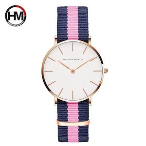 クラシックローズレッドダークブルーナイロンストラップジャパンクォーツムーブメントファッションカジュアル腕時計生地薄いキャンバス腕時計女性用CB36-F7