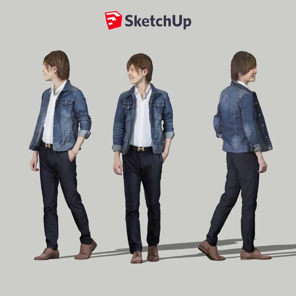 SketchUp素材 3D人物モデル ( Posed ) 087_Ren - 画像1