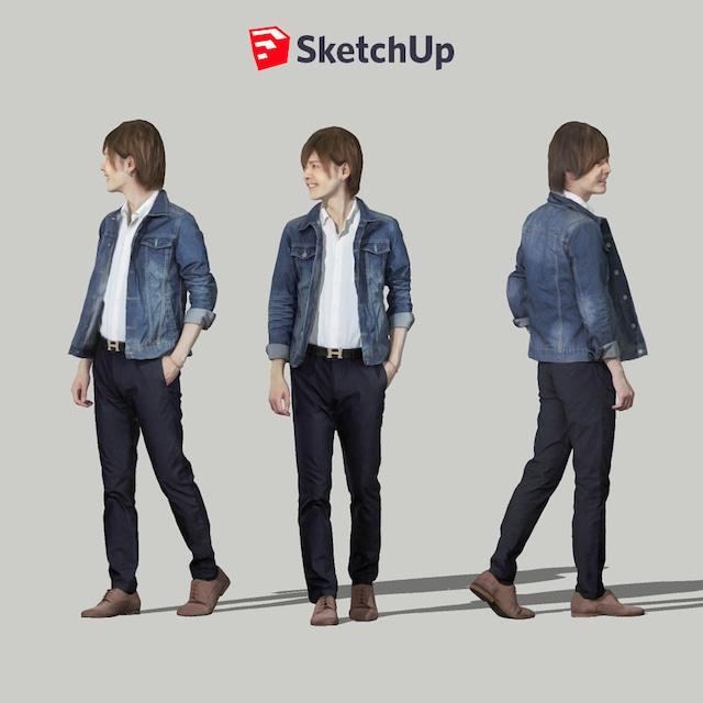 SketchUp素材 3D人物モデル ( Posed ) 087_Ren - メイン画像