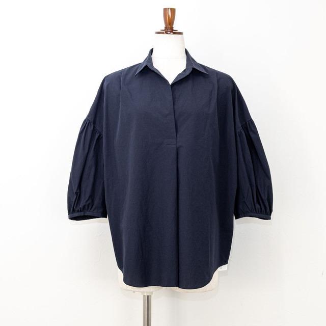 【ma couleur/マ クルール】タイプライターバルーンスリーブシャツ(ブラック)