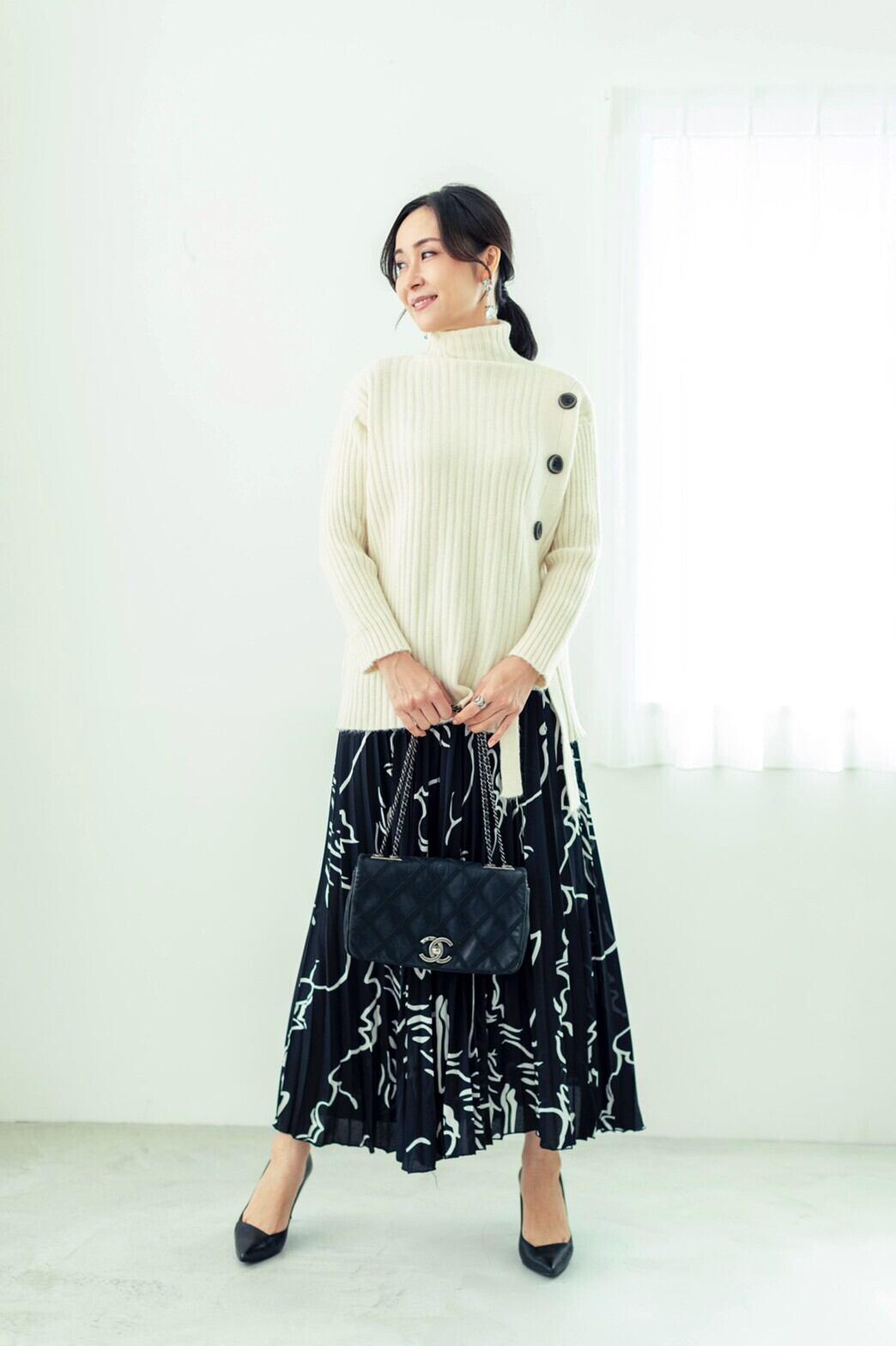 プリントシフォンプリーツスカート BLACK