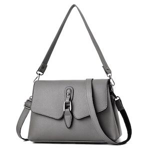 ボルサ シンプルデザインハンドバッグ ショルダーバッグ Gray
