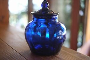 ◆三宅吹硝子工房◆三宅義一◆◆◆蓋物〈瑠璃色〉◆◆◆