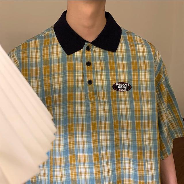 レトロチェックポロシャツ YH5691