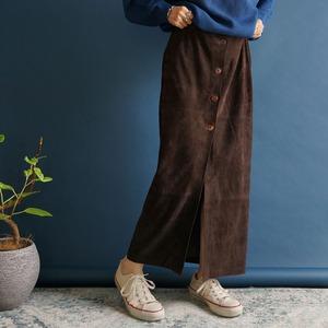 【送料無料】 80's Vintage Brown Suede High Waisted Skirt