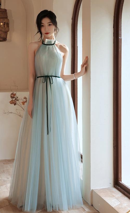 ライトブルー ロングドレス メッシュ パーティードレス TM0192