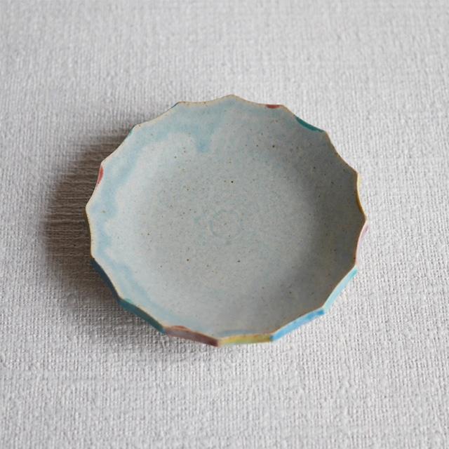 彩色輪花皿 Blue S