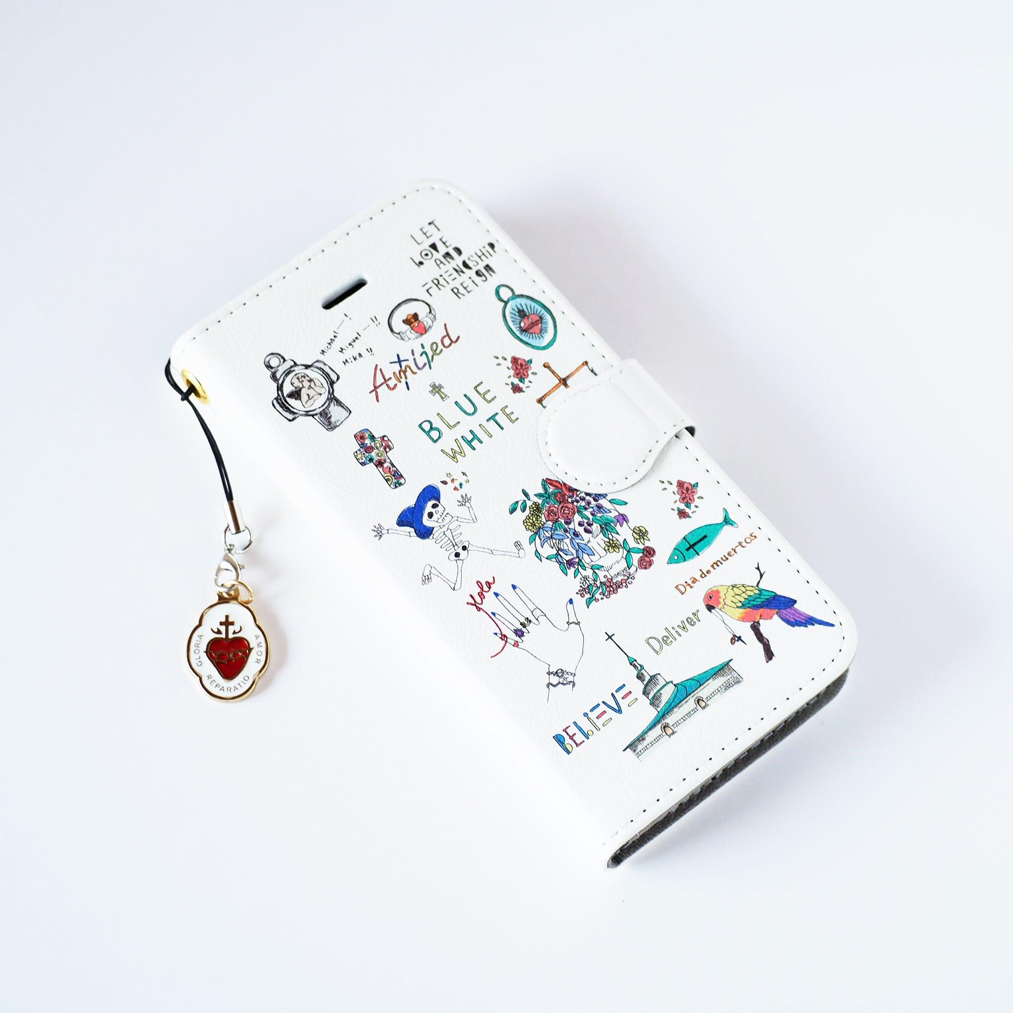 Amijed+BLUEWHITE 手帳型スマホケース