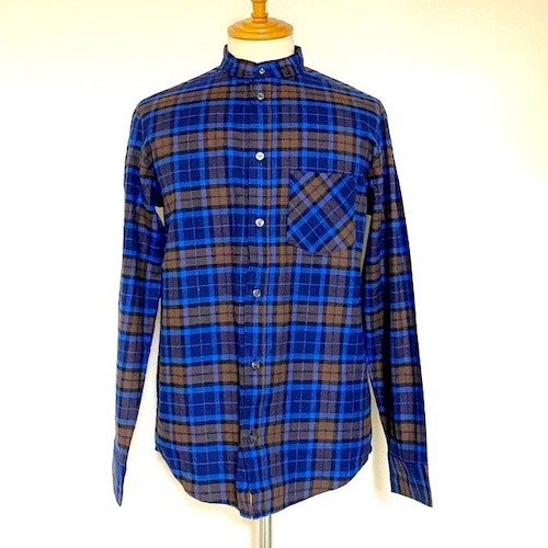 Stand Collar Check Shirts Brown / Blue