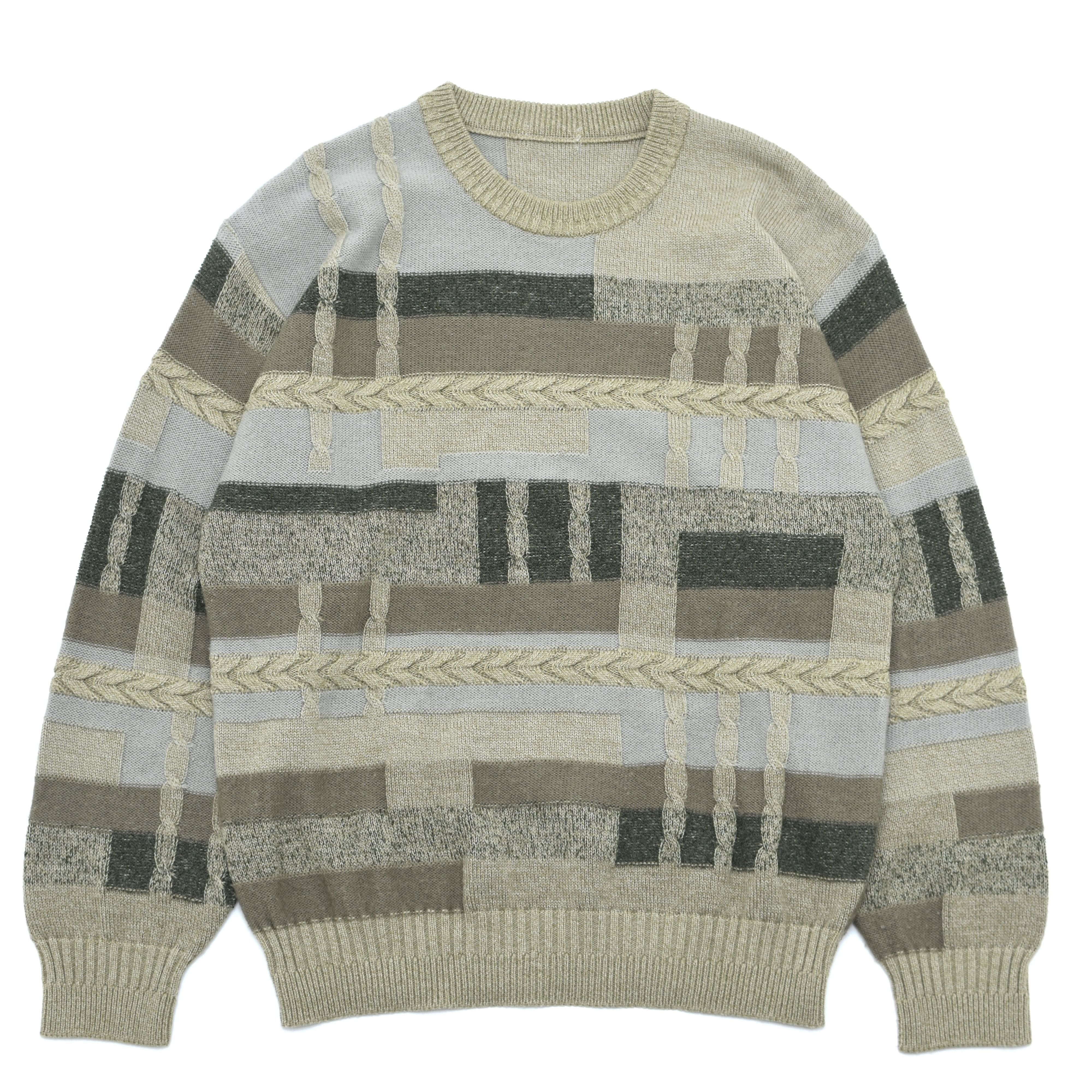 Geometric × cable full pattern 3D sweater