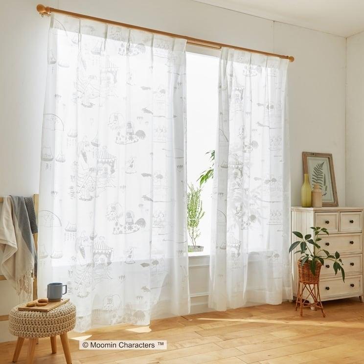 【最短8営業日で出荷】ボイルレースカーテン ムーミン 「EPIC エピック ホワイト」 (幅×丈):100×176cm(2枚組) ab-a1015