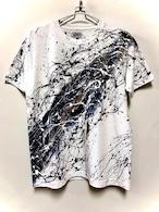 流水シブキTシャツ(白地×モノトーン)