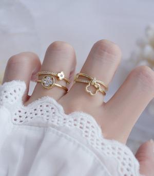【人気NO9】2連お花リング指輪☆ rg25