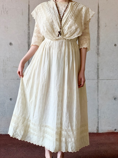Antique Early 1900's Edwardian Embroidered Cutwork Tea Dress
