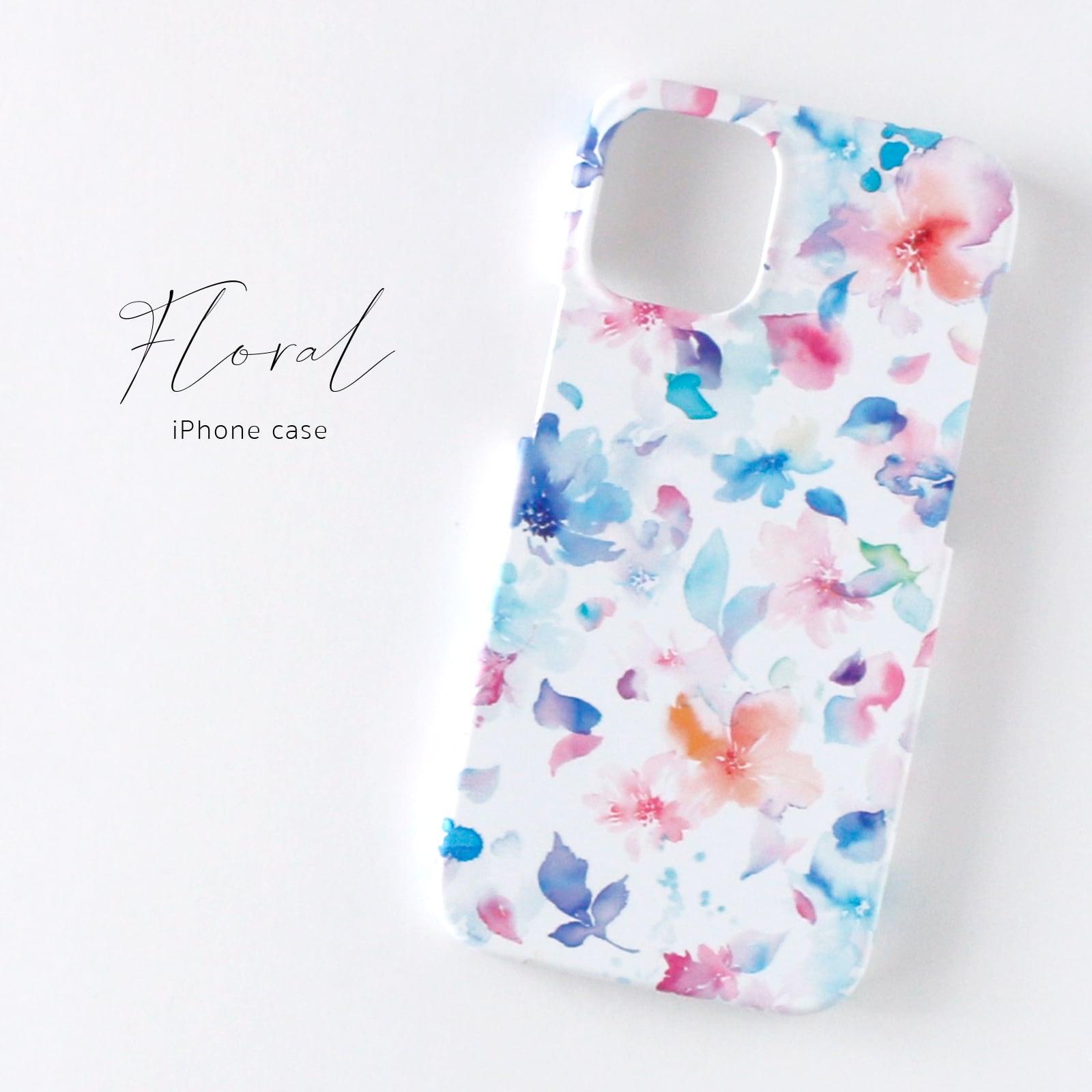 iPhoneケース<水彩花柄>