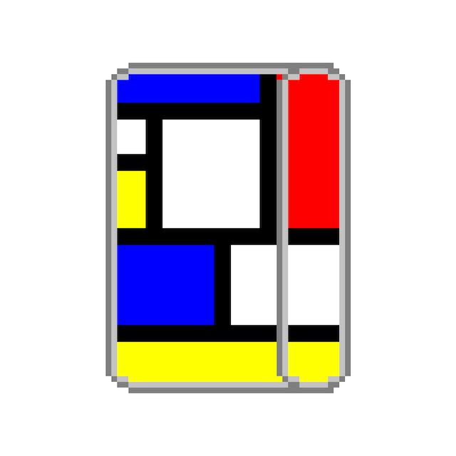 システム手帳ミニ6穴(ポケット)サイズ  ミミちゃんモンドリアン柄