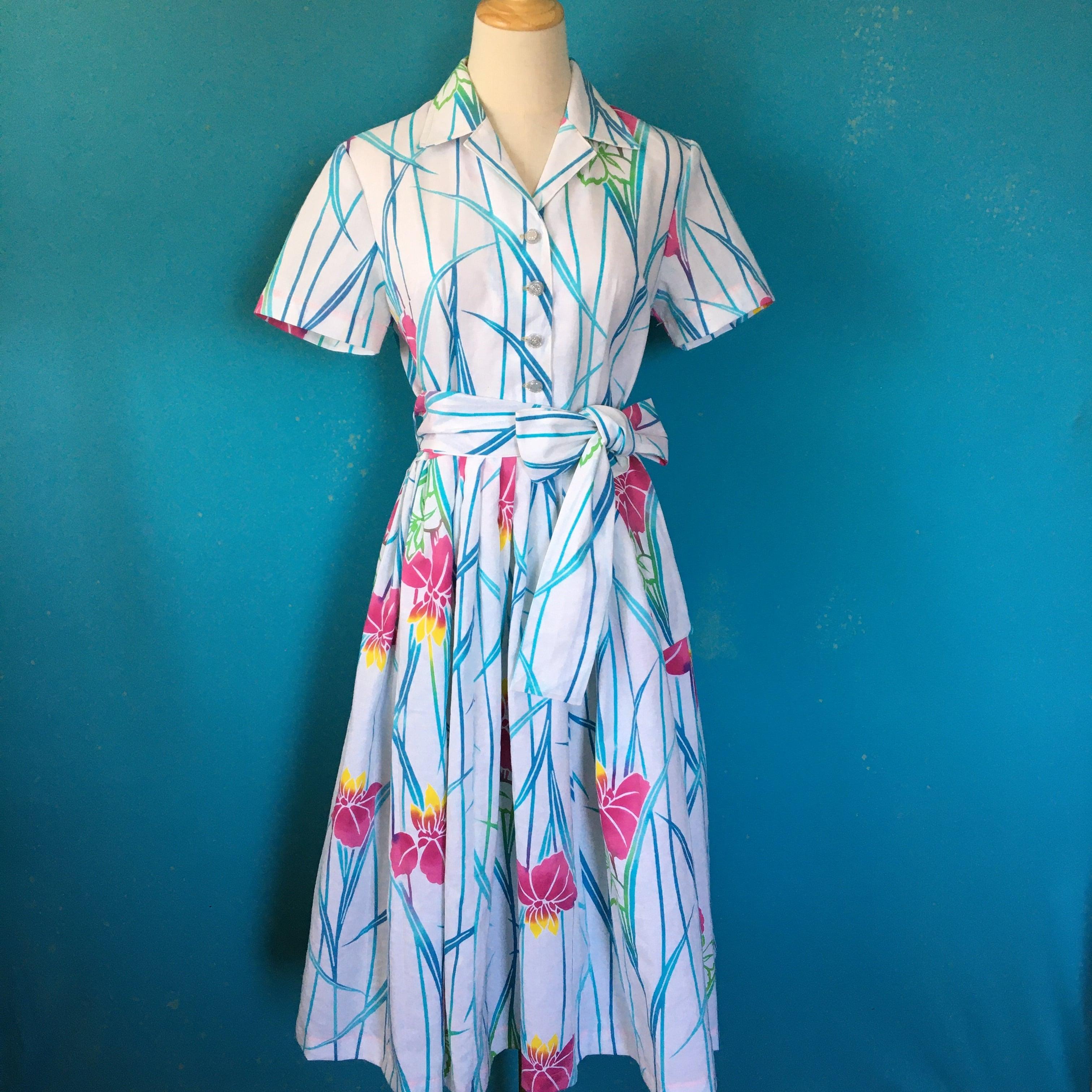 Cotton kimono dress/ US 8/浴衣