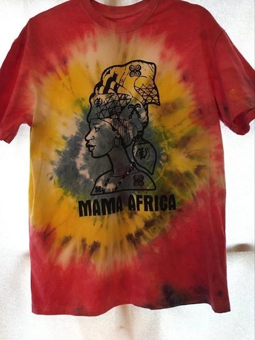 ガーナの手染めTシャツ【L】 MAMA AFRICA-③