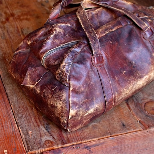 1940s Leather Gym Bag / ヴィンテージ レザー ボストン バッグ