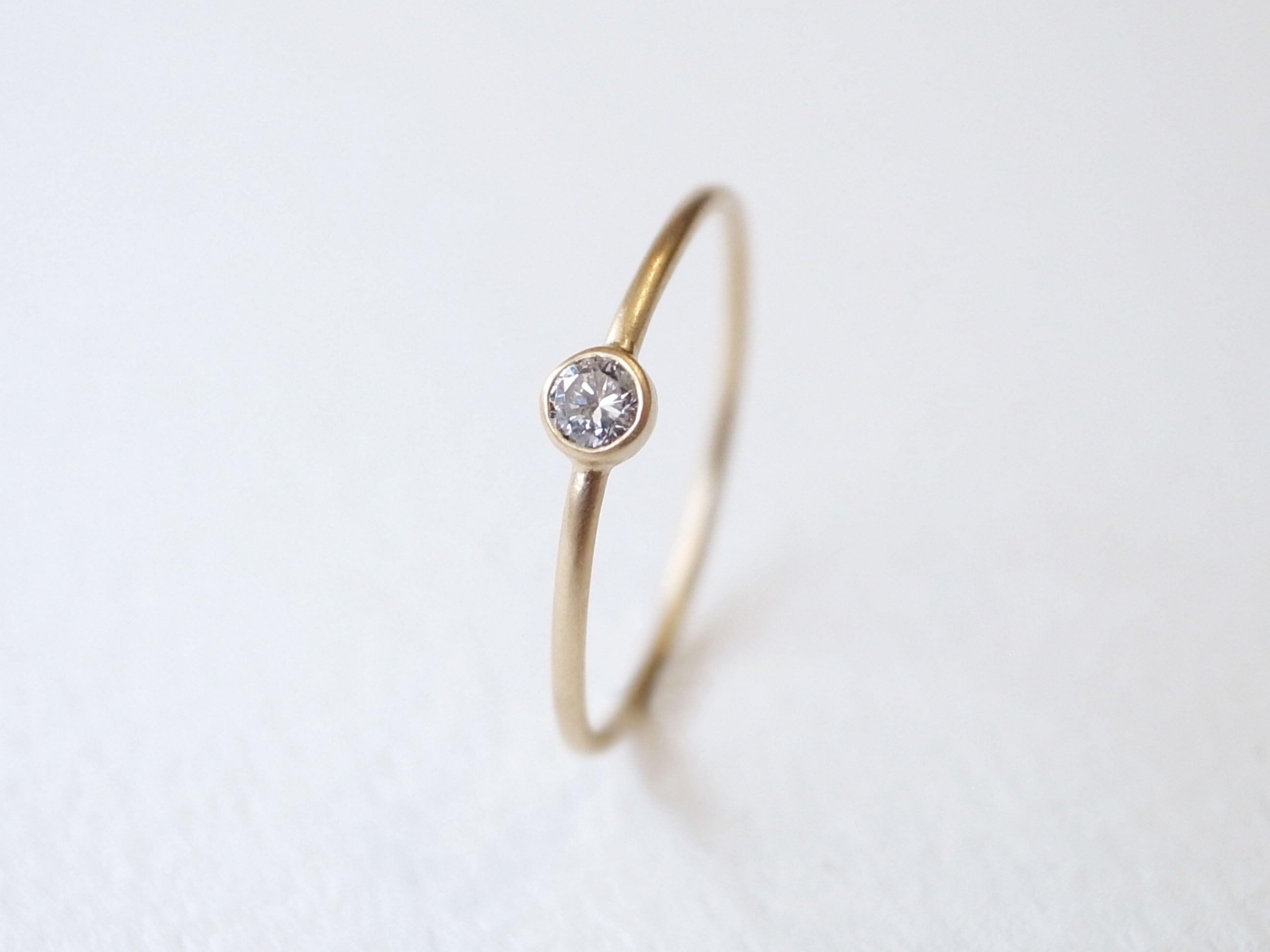 K18YG Diamond/2.5round grain ring