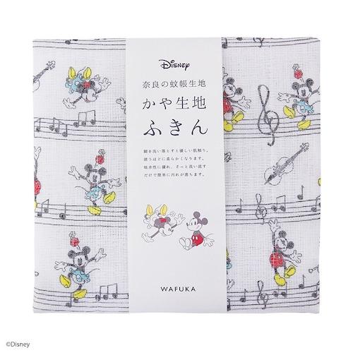 【日本製】Disney ディズニー かや生地 ふきん 『音符ステップ』 奈良の 蚊帳生地