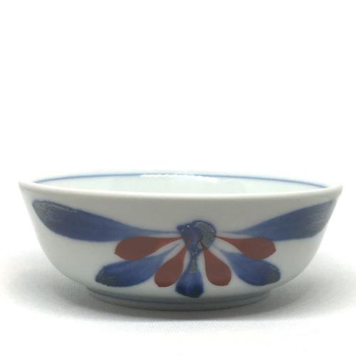 【砥部焼/梅山窯】4.7寸平鉢(赤菊)