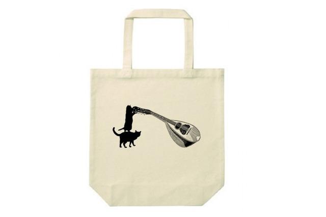 マンドリンと黒猫のトートバッグ