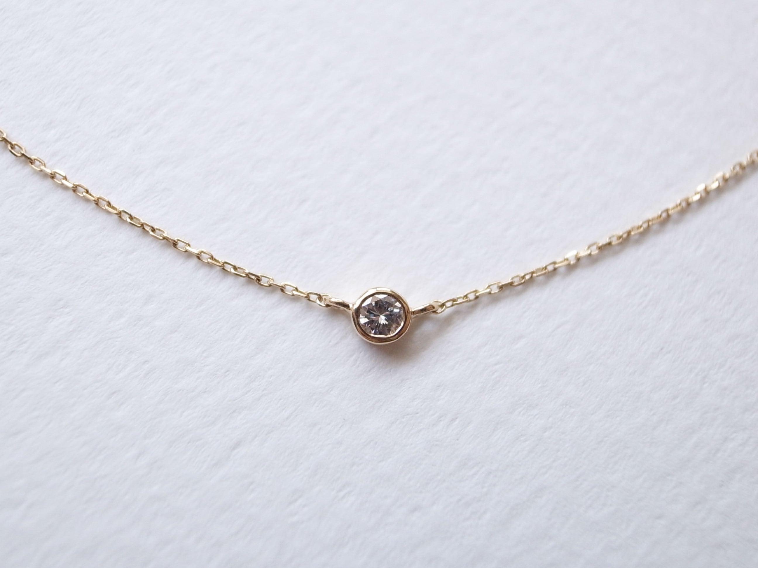 K18YG Diamond/2.5round grain necklace