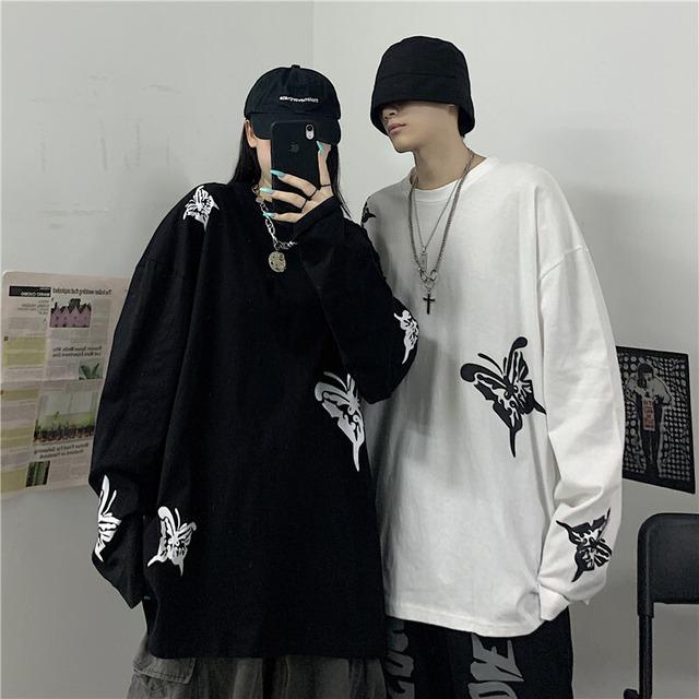 【トップス】蝶図柄プリントプルオーバーパーカー42908357