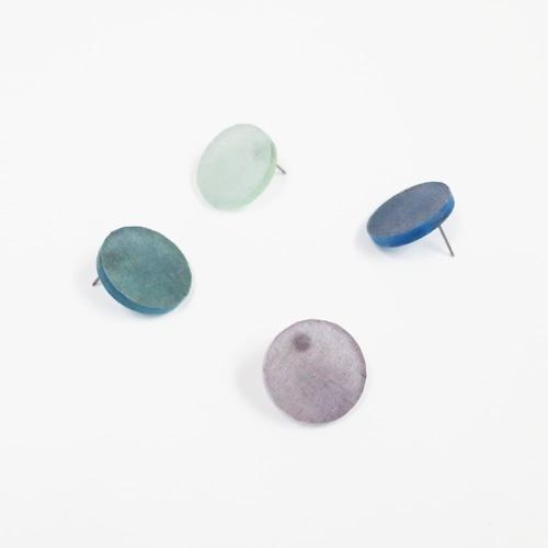 藍染/泥染/幾何学片耳用ピアスイヤリング/E-6_LR_AI