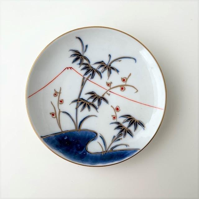 【おてしょ皿】染錦笹に富士山図 丸小皿