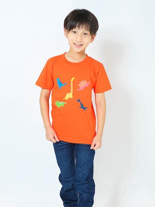 恐竜プリントTシャツ(子供用・恐竜ミックス)カリフォルニアオレンジ【KT-AS】