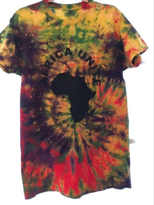 ガーナの手染めTシャツ【M】 AFRICA UNITE-⑨