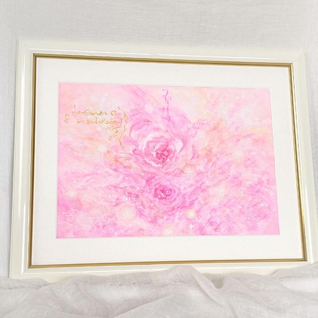 薔薇の絵 マリアンローズ ピンクのバラ