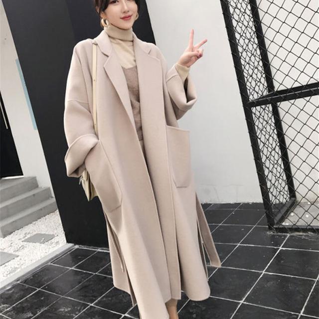 【アウター】気質アップ シンプル ファッション 無地 ベルト付き スリット 長袖 ロング コート-5-53905478