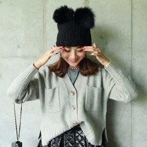 ポンポンファーニット帽(ブラック×ブラック)